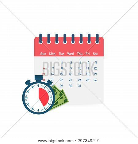 Tax Day. Concept Of Payment Date Or Payday Loan Like A Calendar With Money. Vector Stock Illustratio