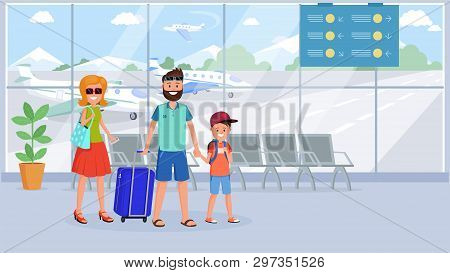 Family In Airport Terminal Flat Illustration. Cartoon Characters With Luggage At Departure Lounge, W