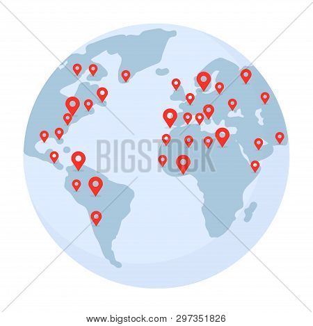 Planet Earth With Pointer Marks Illustration. World Wide Shipping, Delivery, Location, Gps Navigatio
