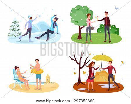 Seasonal Outdoor Activities Vector Illustrations Set. Winter Games, Spring Landscape, Summer Holiday