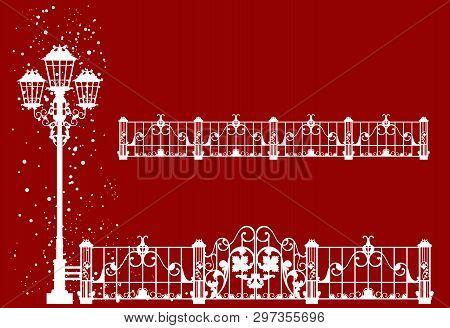 Christmas Time In The City Decor Set - Winter Season Streetlight And Fence Easy Editable Vector Silh
