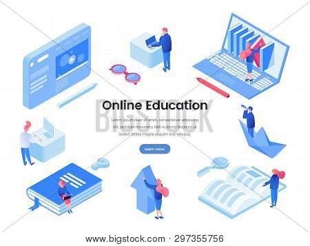 Online Education Landing Page Isometric Template. E Learning, Distance Education, Online Courses And
