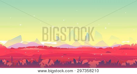 Fantastic Planet With Red Grass Landscape Game Background Tileable Horizontally, Sharp Rocks And On