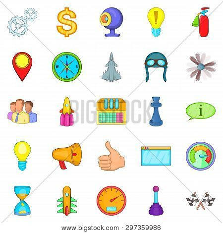Temporary Difficulty Icons Set. Cartoon Set Of 25 Temporary Difficulty Icons For Web Isolated On Whi