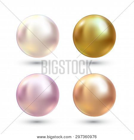 Realistic Varicoloured Pearls Vector Set. Precious Pearl In Sphere Form. Pearl Is Luxury Glossy Ston