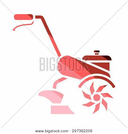 Garden Tiller Icon. Flat Color Design. Vector Illustration.