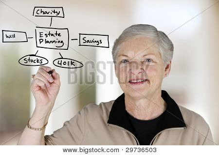 A senior woman planning out her estate