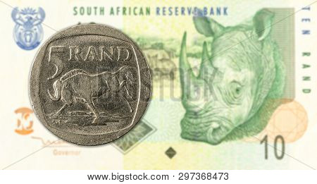 5 Rand Coin Against 10 South African Rand Bank Note Obverse