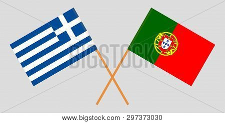 Portugal And Greece. The Portuguese And Greek Flags. Official Colors. Correct Proportion. Vector Ill