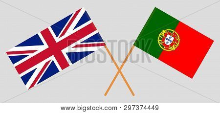 Portugal and UK. The Portuguese and British flags. Official colors. Correct proportion. Vector illustration poster