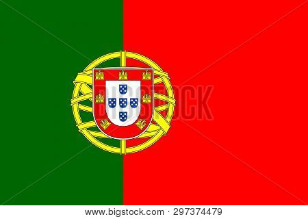 Flag Of Portugal. Official Colors. Correct Proportion. Vector Illustration