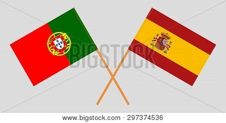 Portugal And Spain. The Portuguese And Spanish Flags. Official Colors. Correct Proportion. Vector Il