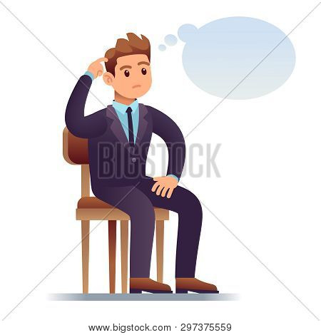 Thinking Man. Scratching Businessman Sitting On Chair With Empty Thinking Bubble. Worried Man In Dou
