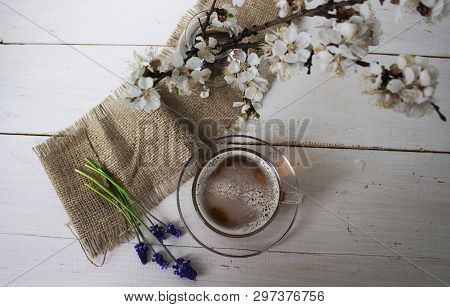 Tea. Green Tea. Herbal Tea. Mint Leaf. Tea With Apple Flavor. Tea In A Glass Cup With Apple Blossoms