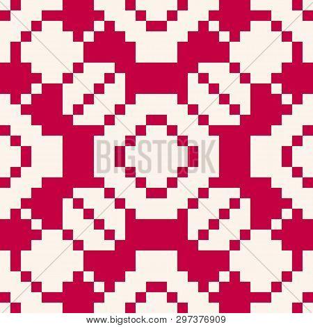 Geometric Traditional Folk Ornament. Christmas Holiday Theme Seamless Pattern. Fair Isle Texture. Ba