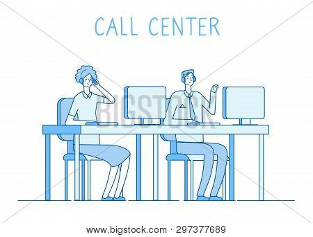 Customer Service Concept. Helping Support Online Help With Supporter Client Technical 24h Services V