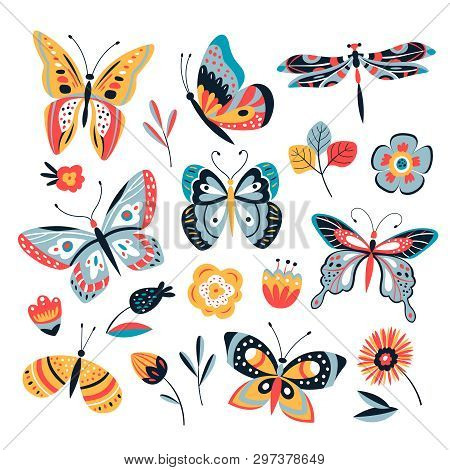 Color Drawing Butterfly. Butterflies Moth And Flowers. Vintage Insects Vector Collection. Illustrati