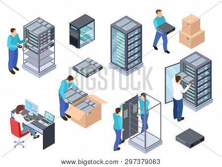 Server Room Isometric. Information Technology Server Engineer, Telecommunication Cloud Servers, Comp