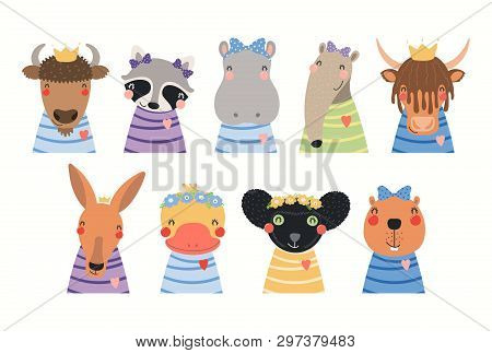 Big Set Of Cute Animals In T-shirts, Crowns, Ribbons, Flower Wrethes. Isolated Objects On White Back