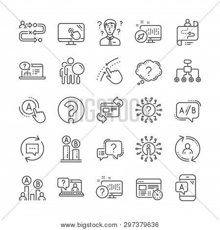 Ux Line Icons. Set Of Question Mark, Ab Testing And Journey Path Map Icons. Usability Quiz Test, Ux