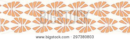 Stylised Abstract Orange Segment Slice. Hand Drawn Seamless Vector Border Illustration.