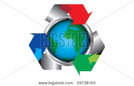 Symbolic recycle for save the green world poster
