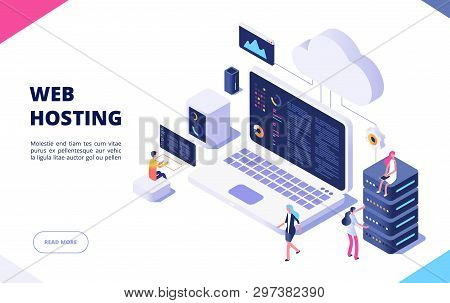 Web Hosting Concept. Cloud Computing Online Database Technology Security Computer Web Data Center Se