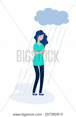 Woman Rain Cloud. Depressed Girl Feeling Lonely Depression Unhappy Teen Solitude Sadness Grief Stres