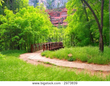 Bridge, Park Path And Mountain