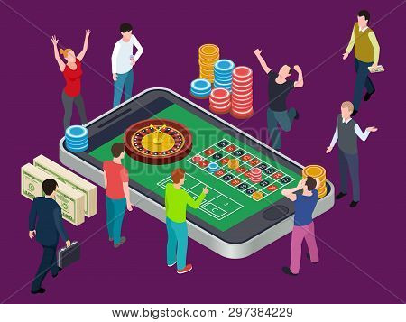 Online Roulette Table And People. Casino Isometric Vector Concept. Illustration Of People Play In Ca