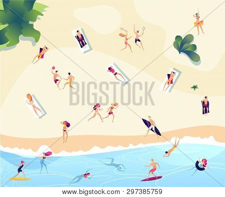 Summer Beach People. Persons Swim Dive In Sea Relaxing Sunbathing Active Family Women Men Water Game
