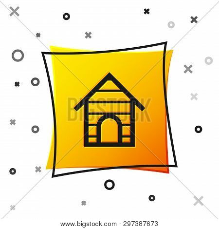 Black Dog house icon isolated on white background. Dog kennel. Yellow square button. Vector Illustration poster
