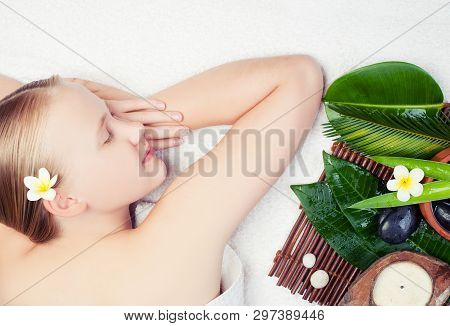 Beautiful Young Woman Getting Spa Massage With Aromatherpy. Spa Concept