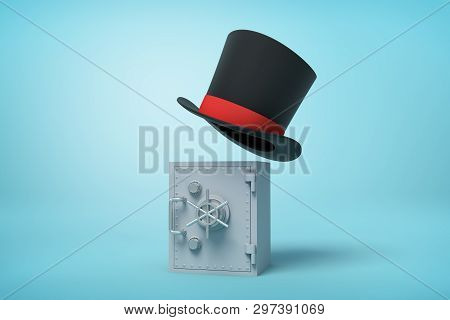 3d Rendering Of Gray Metal Money Vault And Black Tophat Floating In Air Above It On Light-blue Backg
