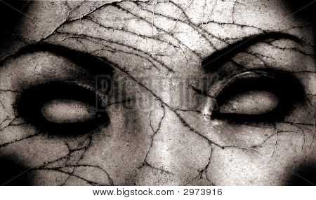 close up of a scary eyes with cracks poster