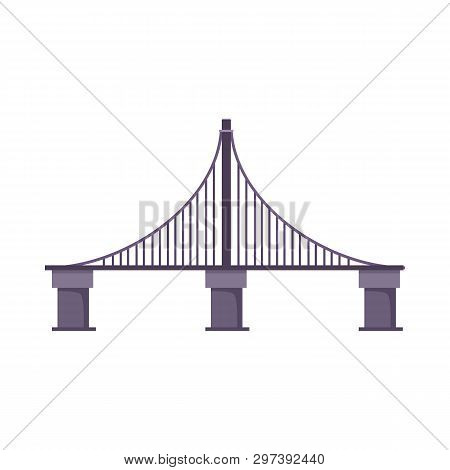 Cable Bridge Vector Illustration. Highway Bridge, City, River. Bridges Concept. Vector Illustration
