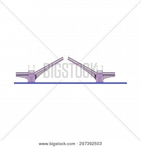 Drawbridge Vector Illustration. Highway Bridge, Waterway, Harbor. Bridges Concept. Vector Illustrati