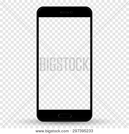 Smartphone In Iphone Style Black Color With Blank Touch Screen Isolated On Transparent Background. S