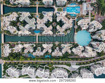 Top View Of Keppel Bay With Modern Residence In Singapore City.