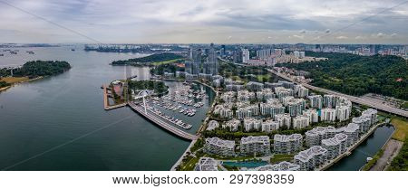Panorama Aerial View Of Keppel Bay With Modern Residence In Singapore City.