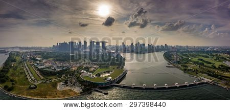 Panorama Aerial View Of The Singapore Landmark Financial Business District At Twilight Sunset Scene