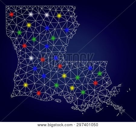 Glamour Mesh Vector Louisiana State Map With Glowing Light Spots. Lowpoly Model For Patriotic Illust