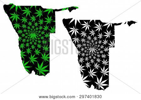 Namibia - Map Is Designed Cannabis Leaf Green And Black, Republic Of Namibia Map Made Of Marijuana (