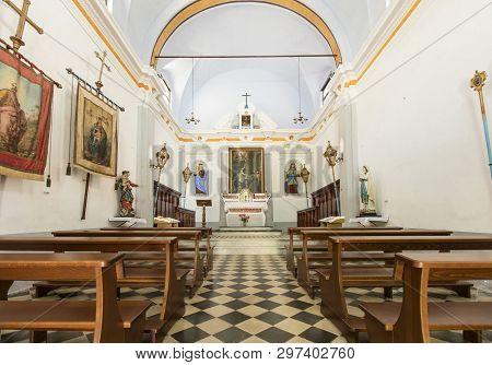 Interior And Ceiling Of The Chapel Of Saint Catherine In Corniglia, La Spezia, Liguria, Italy - 21st