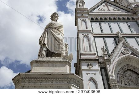 Statue Of Dante Outside The Basilica Di Santa (basilica Of The Holy Cross), Florence, Italy - 23rd M