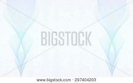 Watermark Template. Blue, Teal Guilloche Pattern. Two Symmetric Waveforms. Squiggle Thin Lines. Ripp
