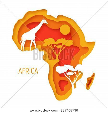 Africa. Decorative 3d Paper Cut Map Of Africa Continent With Wild Animals Silhouettes. 3d Paper Cut