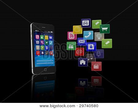 Smartphone with application icons