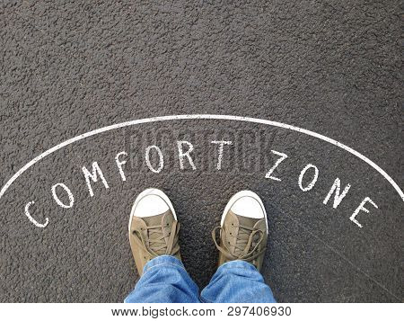Feet In Canvas Shoes Standing Inside Comfort Zone - Foot Selfie From Personal Perspective - Chalk Te