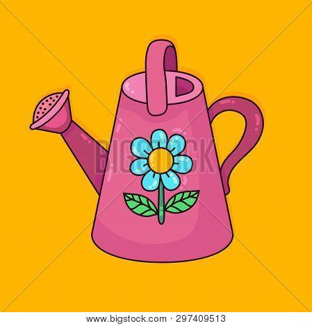 Watering Can Pink Gardening  Leica Cartoon Childish Icon